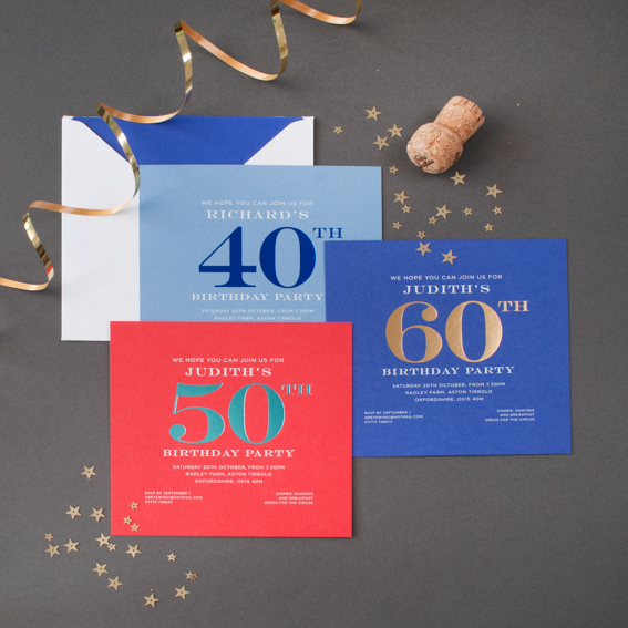 Foiled 40th Invitations Prices From GBP30800 For 30