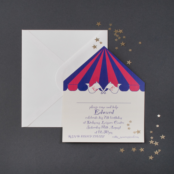 Circus Tent Invitations (prices from £60.50 for 30) & Childrenu0027s Party Invitations | The Letter Press