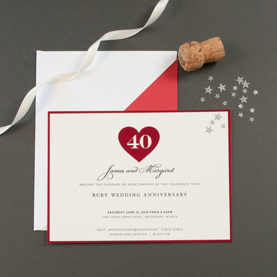 Anniversary party invitations the letter press hearts anniversary invitations in ruby prices from 22500 for 30 stopboris Images