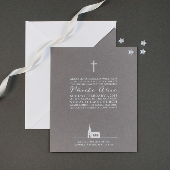 Luxury personalised christening invitations the letter press simple cross christening invitation prices from 22600 for 30 stopboris Choice Image