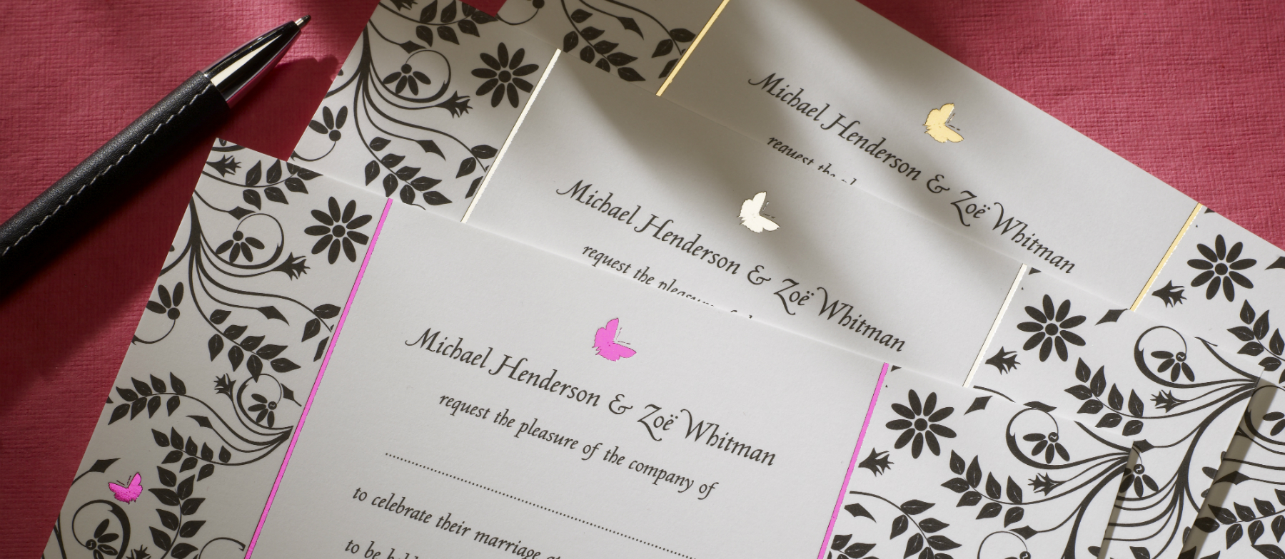 Butterfly personalised wedding invitations the letter press butterfly luxury wedding stationery monicamarmolfo Choice Image